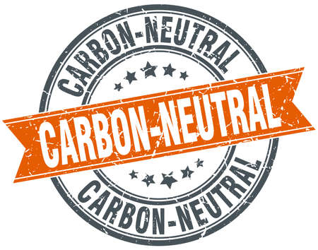 co2 neutral: carbon-neutral round orange grungy vintage isolated stamp