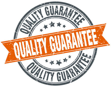 quality guarantee: quality guarantee round orange grungy vintage isolated stamp