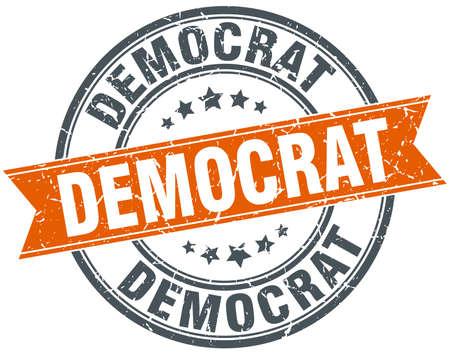 democrat: democrat round orange grungy vintage isolated stamp
