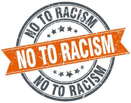 racismo: no al racismo ronda naranja aislada �poca grunge sello