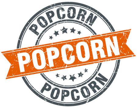 popcorn: palomitas ronda sello aislado de naranja sucio de la vendimia