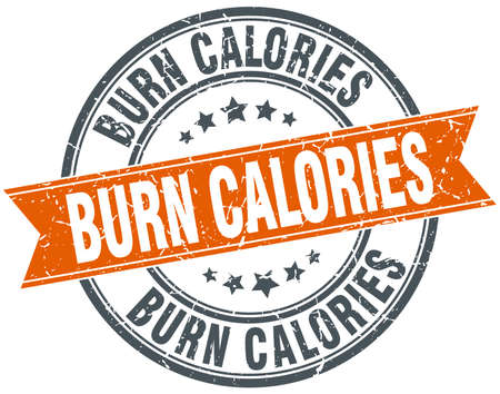 burn: burn calories round orange grungy vintage isolated stamp