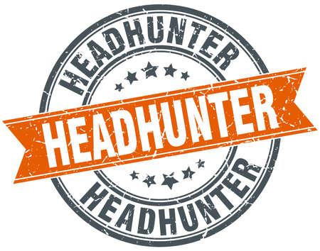 headhunter: headhunter arancione rotondo annata grungy isolato francobollo