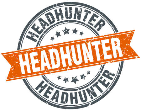 headhunter: headhunter round orange grungy vintage isolated stamp