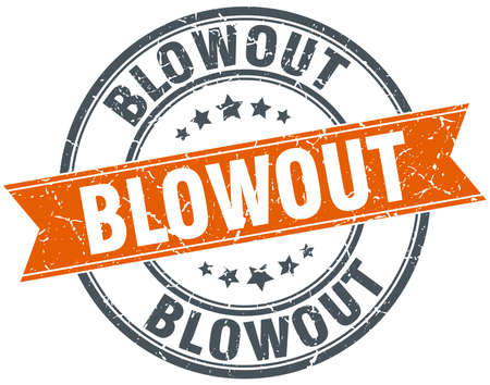 blowout: blowout round orange grungy vintage isolated stamp