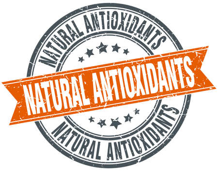 antioxidants: natural antioxidants round orange grungy vintage isolated stamp
