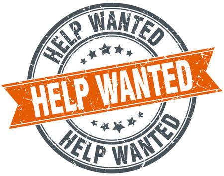 help wanted sign: ayuda quer�a ronda naranja aislada sello sucio vendimia Vectores