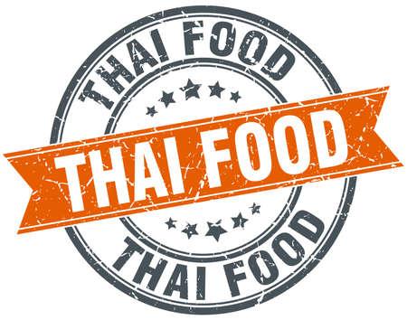 thai food: thai food round orange grungy vintage isolated stamp