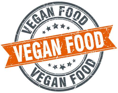 vegan food: vegan food round orange grungy vintage isolated stamp
