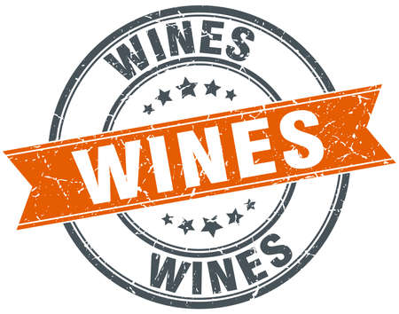 wines: wines round orange grungy vintage isolated stamp