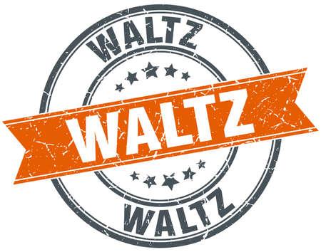 waltz: waltz round orange grungy vintage isolated stamp