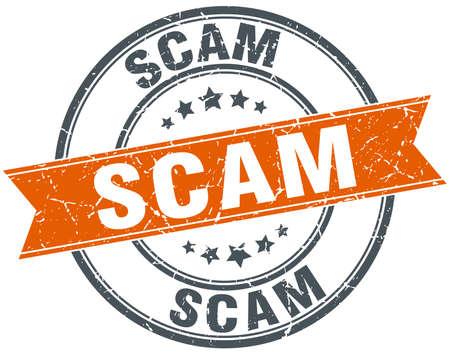 scam: scam round orange grungy vintage isolated stamp Illustration