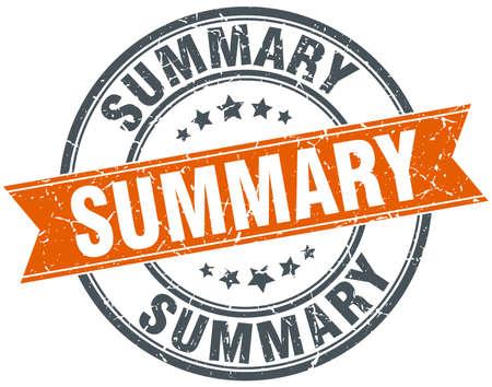 summary: summary round orange grungy vintage isolated stamp Illustration