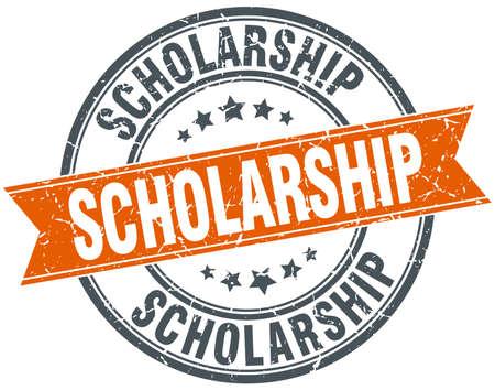 scholarship: scholarship round orange grungy vintage isolated stamp Illustration