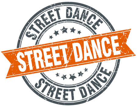 street dance: street dance round orange grungy vintage isolated stamp