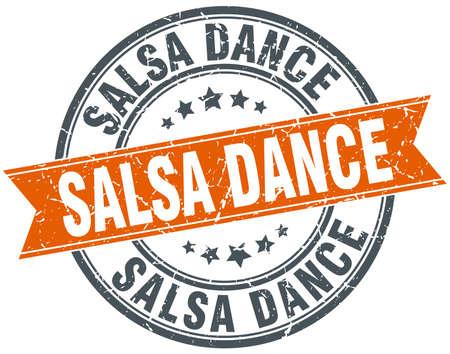 salsa dance: salsa dance round orange grungy vintage isolated stamp Illustration