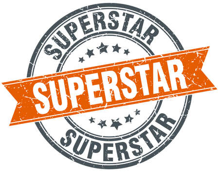 superstar: superstar round orange grungy vintage isolated stamp
