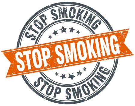 stop smoking: stop smoking round orange grungy vintage isolated stamp
