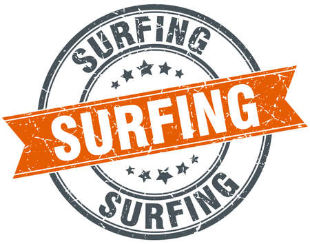 estampilla: surf ronda naranja aislada sello sucio vendimia