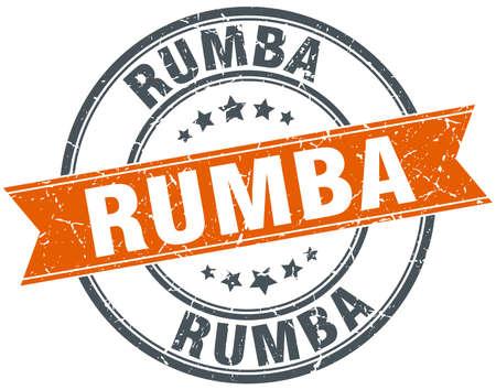 rumba: rumba round orange grungy vintage isolated stamp Illustration