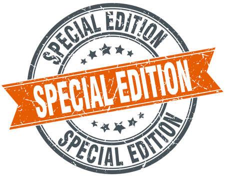 edizione straordinaria: edizione speciale arancione rotondo annata grungy isolato francobollo Vettoriali