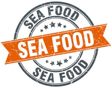 sea food: sea food round orange grungy vintage isolated stamp