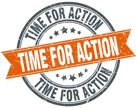 действие: Время действия круглый оранжевый шероховатый старинные изолированных печатью