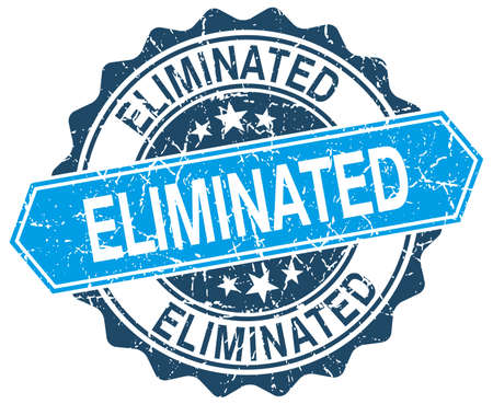 eliminated: eliminated blue round grunge stamp on white