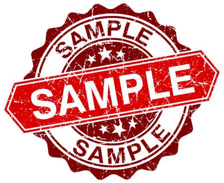 sample: sample red round grunge stamp on white