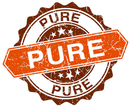 pure: pure orange round grunge stamp on white Illustration