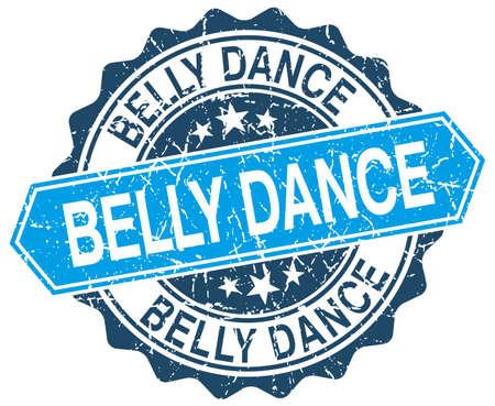 belly dance: belly dance blue round grunge stamp on white Illustration