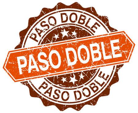 paso doble: paso doble orange round grunge stamp on white