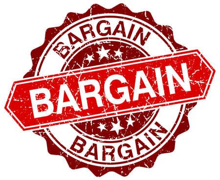 bargain: bargain red round grunge stamp on white