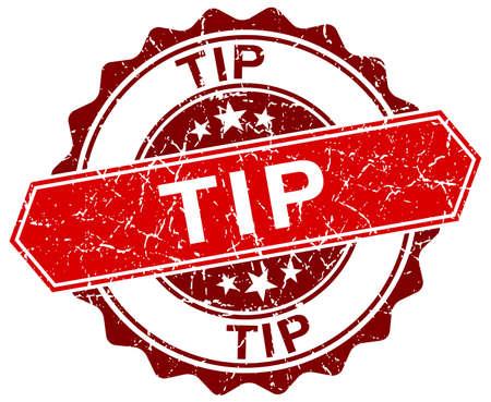 tip: tip red round grunge stamp on white