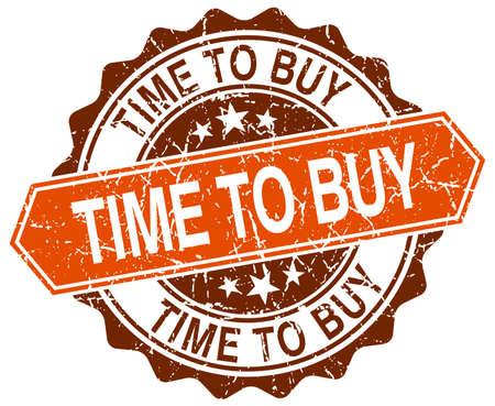 buy time: time to buy orange round grunge stamp on white Illustration