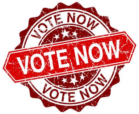 democrats: votar ahora rojo grunge sello redondo en blanco