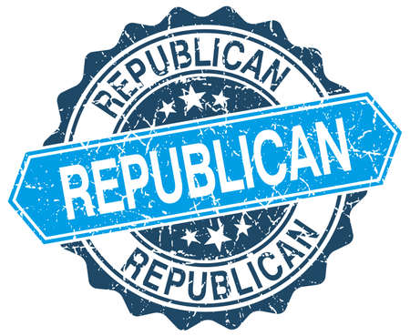 republican: republican blue round grunge stamp on white Illustration