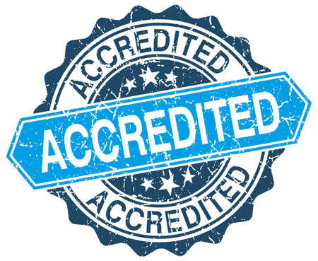accredited: accredited blue round grunge stamp on white