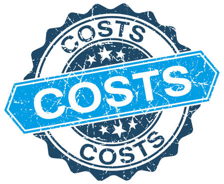 costs: costs blue round grunge stamp on white Illustration