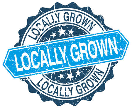 grown: locally grown blue round grunge stamp on white Illustration