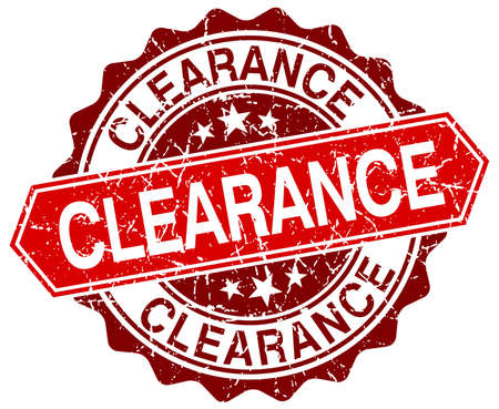clearance: clearance red round grunge stamp on white