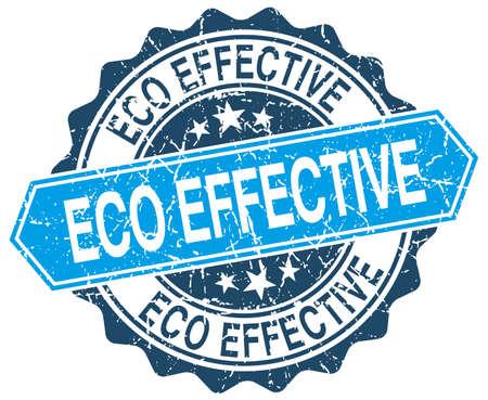 effective: eco effective blue round grunge stamp on white