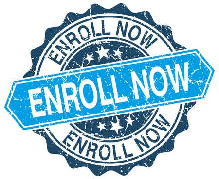 enroll: enroll now blue round grunge stamp on white Illustration