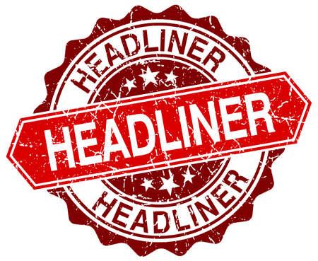 headliner: headliner red round grunge stamp on white