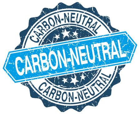 co2 neutral: carbon-neutral blue round grunge stamp on white Illustration