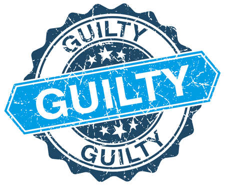 guilt: guilty blue round grunge stamp on white
