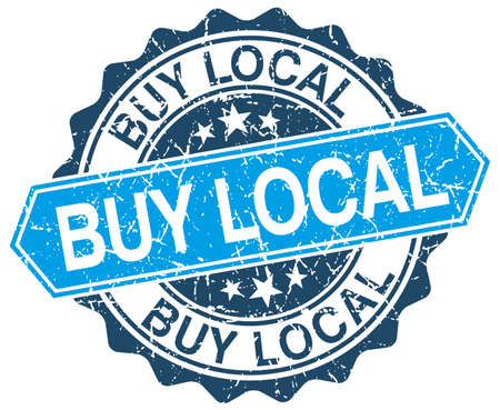 buy local: buy local blue round grunge stamp on white Illustration