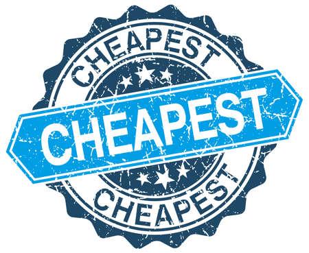 cheapest: cheapest blue round grunge stamp on white Illustration