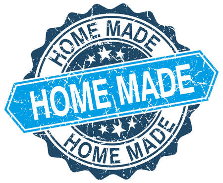home made: home made blue round grunge stamp on white Illustration