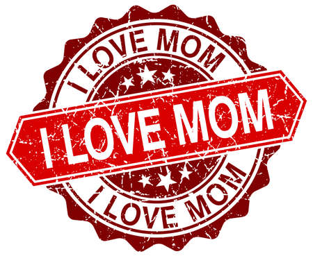 love stamp: i love mom red round grunge stamp on white Illustration